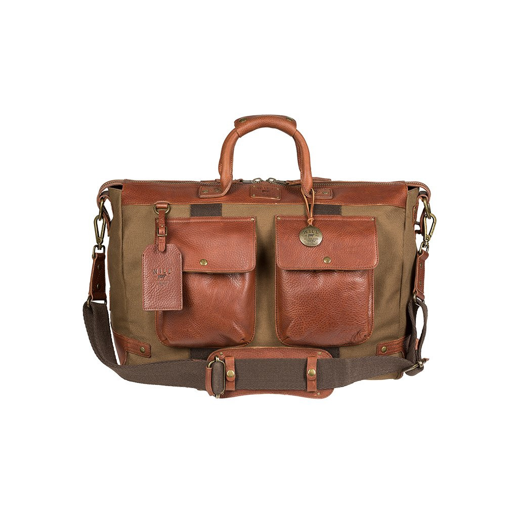 36610d0d90 Will Leather Goods Canvas   Leather Traveler Carry On Duffle Bag ...