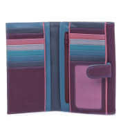 MyWalit Womens Large Tab Flapover Purse Leather Wallet - Winter Berry