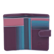 MyWalit Womens Medium Tab Flapover Purse Leather Wallet - Winter Berry