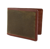 The British Belt Company Langdale Mens Waxed Twill and Leather Bifold Wallet