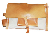 """MSY Inc. Belting Leather & Canvas 20"""" Flapover Carry on Satchel Travel Bag"""