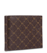 Rioni Mens Bifold Money Clip Wallet Signature Brown