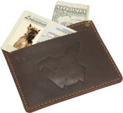 DamnDog Mens Leather Card Sleeve Wallet - Brown