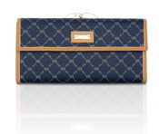 Rioni Womens Continental Clasp Wallet - Signature Navy
