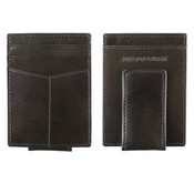 Johnston & Murphy Italian Leather RFID Front Pocket Money Clip Wallet - Charcoal