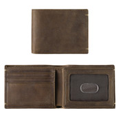 Johnston & Murphy RFID Mens Flip Bifold Leather Wallet - Tan Oiled Full Grain