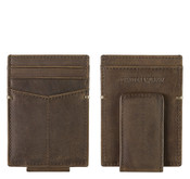 Johnston & Murphy RFID Mens Front Pocket Leather Money Clip Wallet - Tan Oiled Full Grain