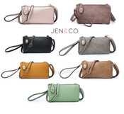 JEN & CO Kendall Wallet Twist Lock Crossbody  Wristlet Vegan Leather