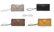 JEN & CO Kyla Wristlet Vegan Leather RFID Blocking Womens Wallet