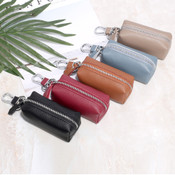Soft Leather Key Zippered Chain Pouch multi function Minimalist Car Key Case