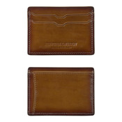 Johnston & Murphy Leather RFID Mens Weekender Wallet - Antique Brown Leather