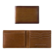 Johnston & Murphy Leather RFID Mens Slimfold Wallet - Antique Brown Leather