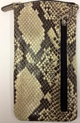 iLi Eye Glass Case Pouch Italian Python Print on Cowhide Leather