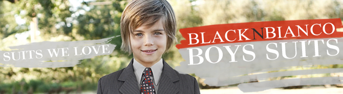 Black N Bianco Banner for Boys Gray Suit on sale
