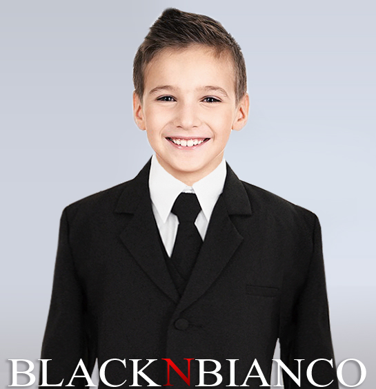 Ring Bearer in a Boys Black Suits