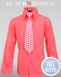 Boys Melon/Coral Button down Dress Shirt by Black n Bianco