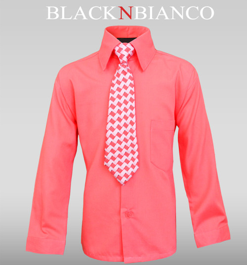 Boys Coral Rustic Dress Shirt for Ring Bearers