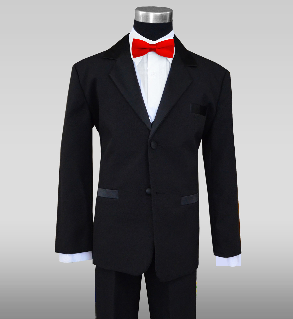 678ad3b849a1 Boys Tuxedos in Black with Red Slim Bow Tie