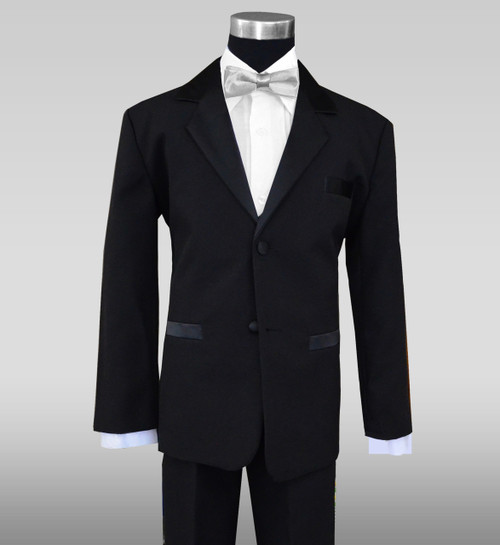 Tuxedo for Kids with a silver straight bow tie