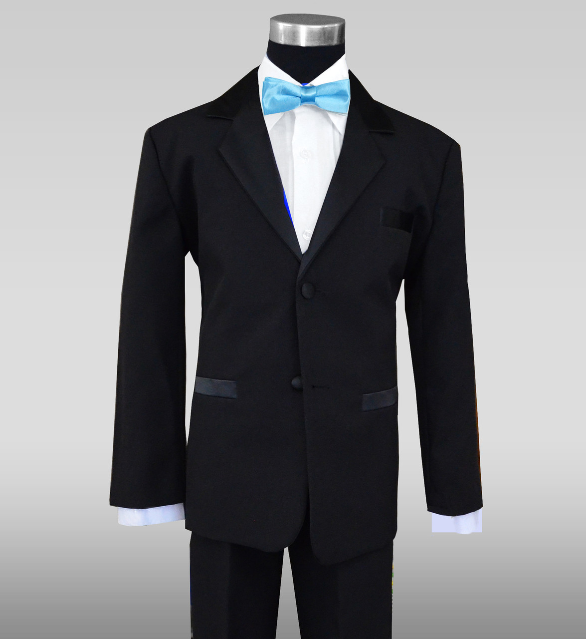 3c2d1a825 Boys Black Tuxedo with Baby Blue Batwing Bow Tie