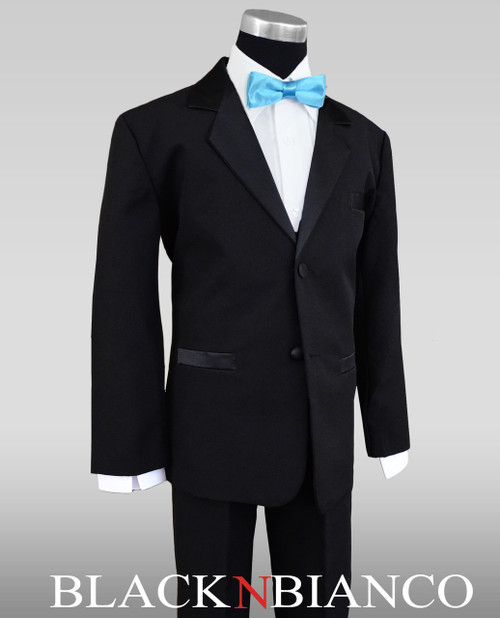 Boys Black Tuxedo With Baby Blue Batwing Bow Tie
