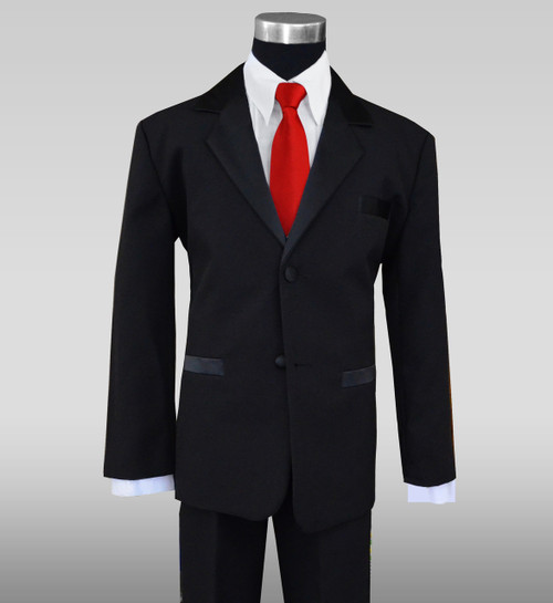 Boys Tuxedo Suit with a Red Vibrant Tie