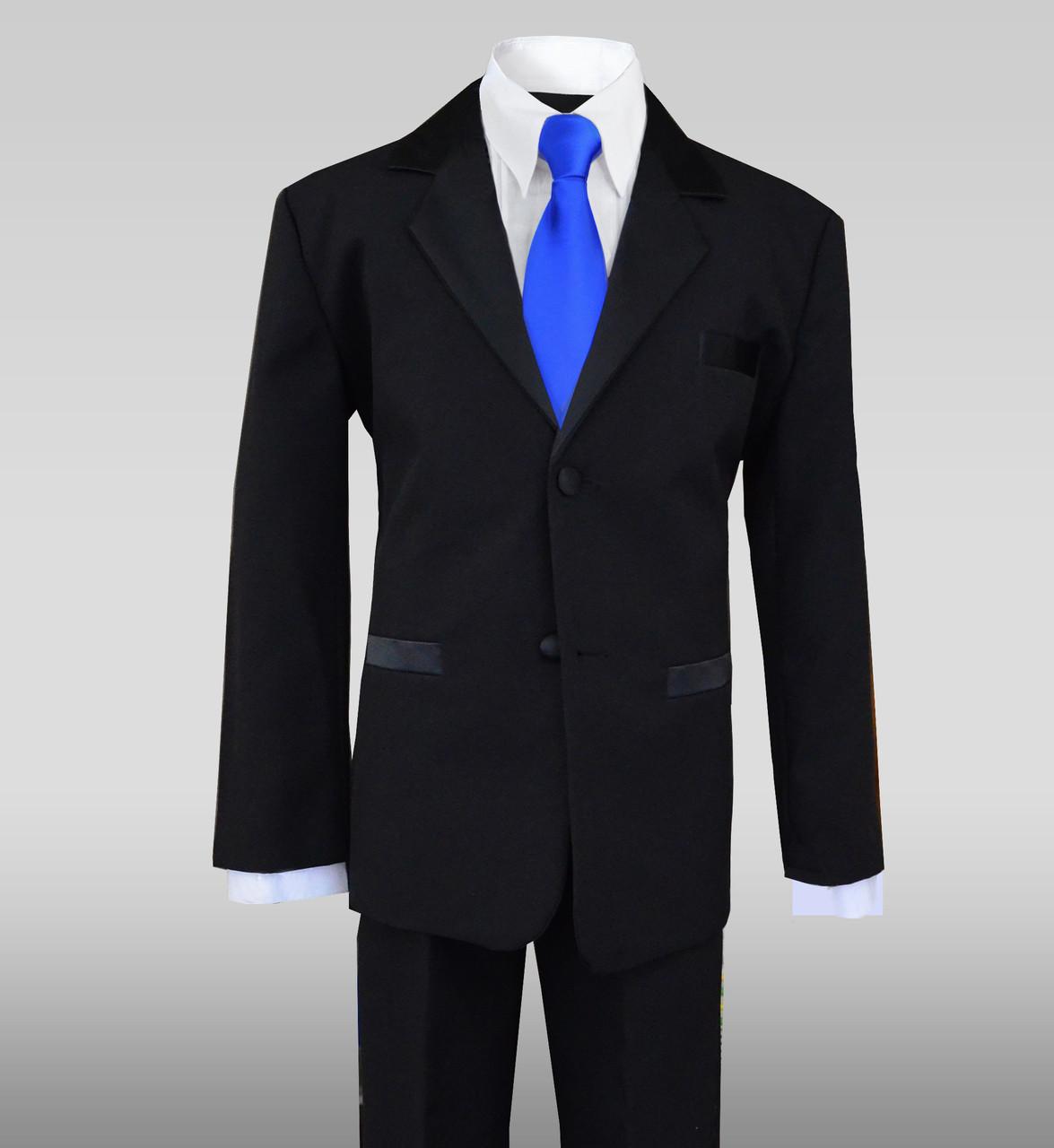 Boys Tuxedo Suit Dresswear In Black With Royal Blue Long