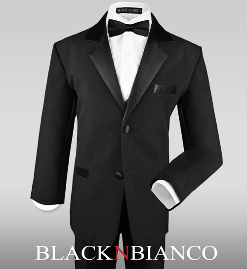 Stunning Ring Bearer Boys Tuxedo with a Slim Black Bow Tie