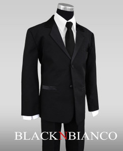 Formal Outfit for Boys in Black with Long Black Tie