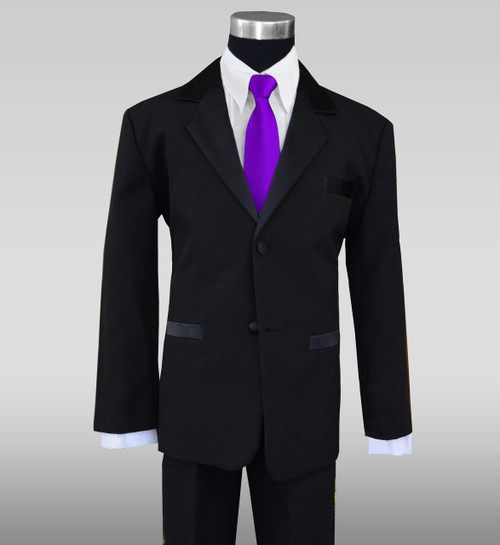 Black n Bianco Boys Black Tuxedo with a purple neck tie