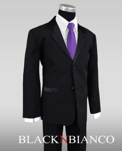 Black n Bianco boys tuxedo suit with a light purple neck tie