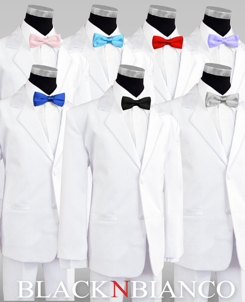 White Tuxedo for Kids with Colored Slim Bow Tie