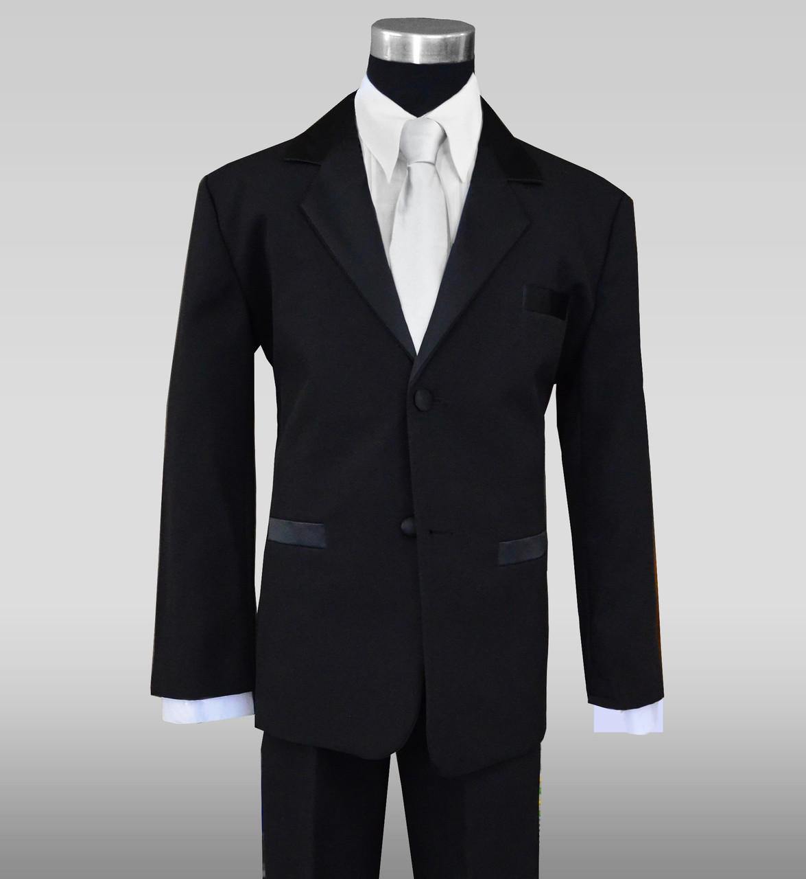Satin Notch Label Tuxedo For Kids With A Light Silver Neck