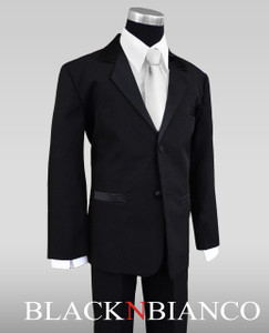 Cute Ring Bearer Outfit Tuxedo with a Silver Neck Tie