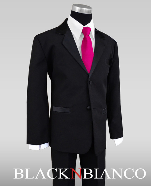 Satin Notch Label Tuxedo For Kids with a Light Silver Neck Tie ...