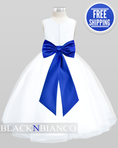 Flower Girls White Satin Tulle Dress w/ Removable Sash, Bow and Flower