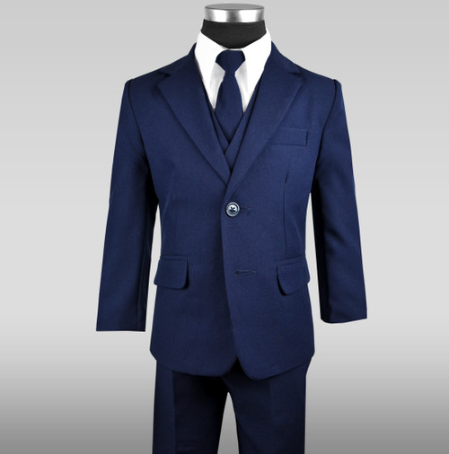 Boy S Navy Suit With Tie Vest Shirt And Slacks Black N