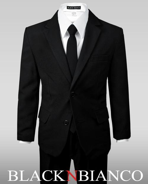 Boy S Solid Black Notch Lapel Suit W A Skinny Tie