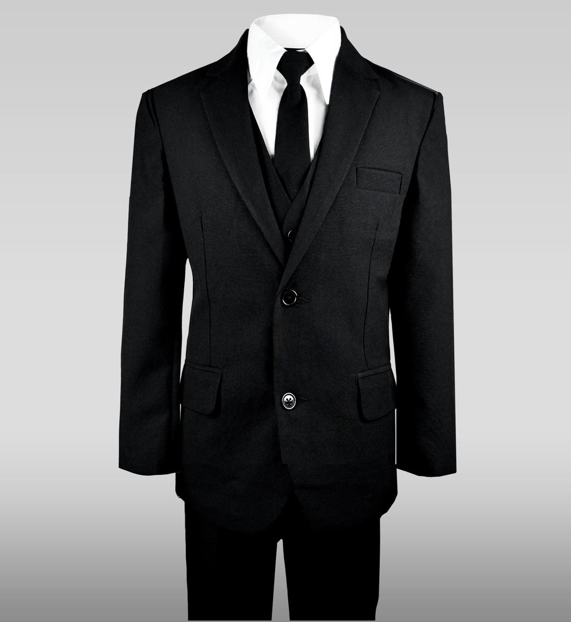 3f0d81a43 Boy s Solid Black Notch Lapel Suit w  a Skinny Tie