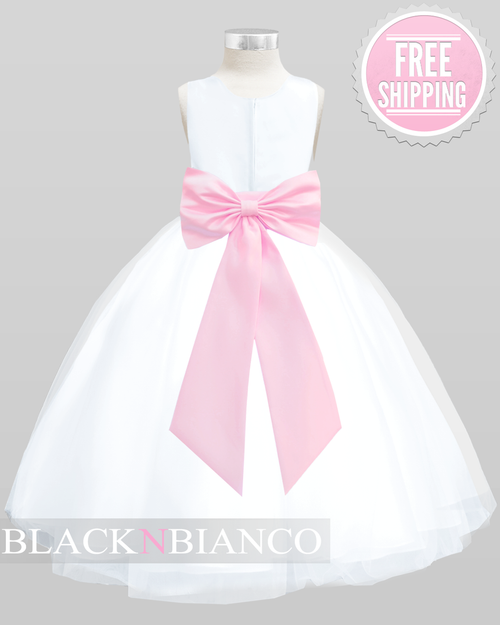 Pink little princess dress with a sash flower and bow pink flower girl dress for your little princess mightylinksfo