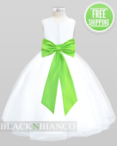 White Sleeveless Satin Flower Girl Dress w/ Vibrant Lime Green Bow