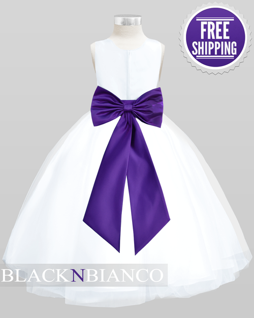 Purple Kids Flower Girl Dress by Black n Bianco