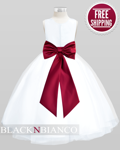 Kids white flower girl dress w burgundy sash flower and bow dark red burgundy bow flower dress for kids mightylinksfo