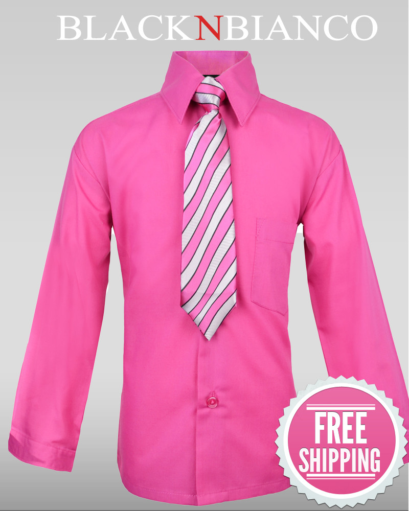 Boys Hot Pink Fuchsia Button Down Dress Shirt Black N Bianco