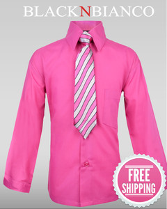 Boys Hot Pink Fuchsia Dress Shirt