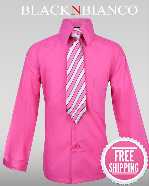 Boys Hot Pink Fuchsia Button Down Dress Shirt - BLACK N BIANCO