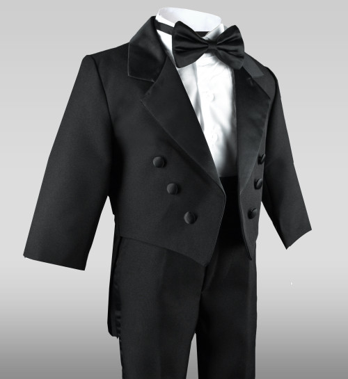 Baby Boys Tuxedo in Black with Tail Black N Bianco