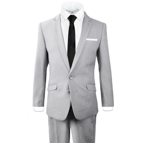 Black n Bianco Boys Light Gray Slim Suits