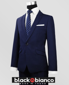 Black N Bianco Boys Navy Slim Fit Suit with a Poka Dot Navy Tie. Impeccably tailored.