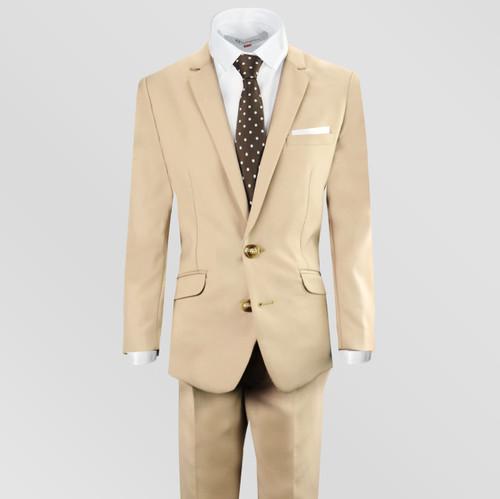 Black n Bianco Boys Khaki Tan Suits